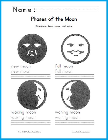 Moon Phases Handwriting Worksheet | Student Handouts | Handwriting ...