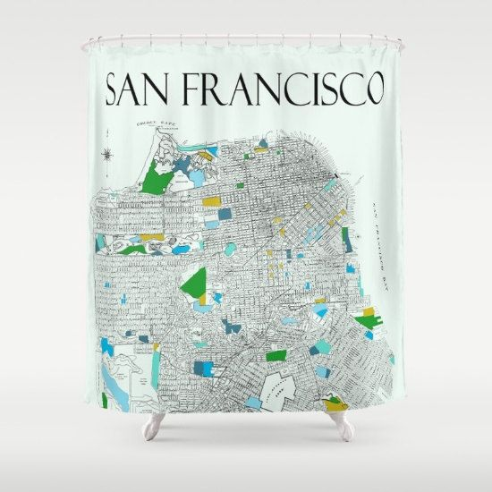 San Francisco Shower Curtain Street Map Of By Mapology