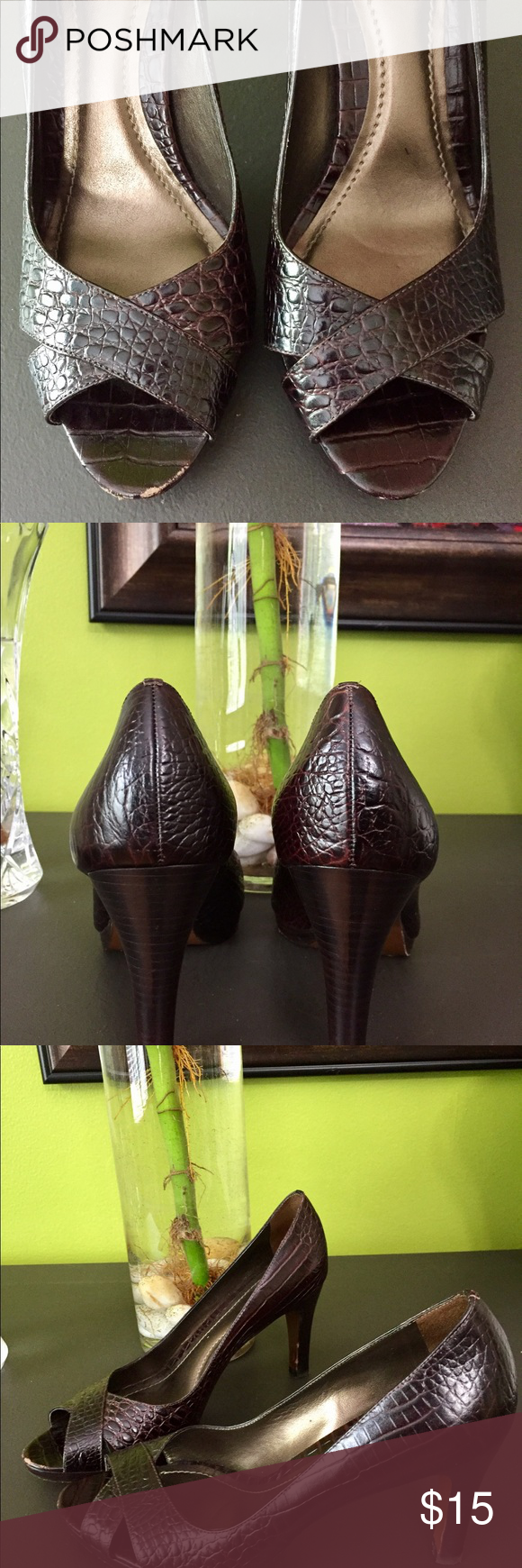 Ann Taylor High Heels 🌻🌻🌻 Genuine brown leather, super cute and comfortable!  In good condition.  Pre-owned, has a few scuffs as shown in pictures. Ann Taylor Shoes Heels