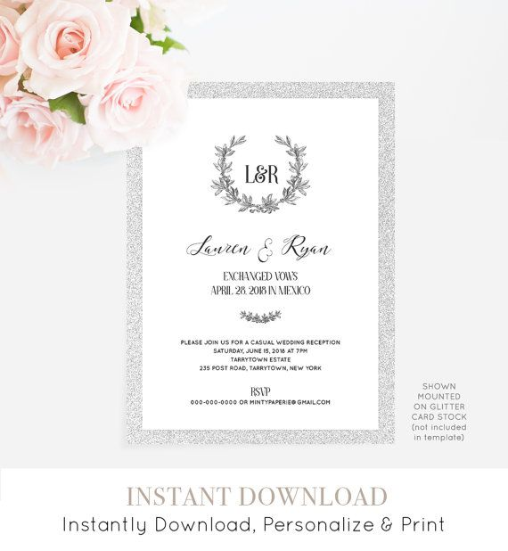 Elopement Invitation Template Printable Eloped Announcement - Party invitation template: elopement party invitation template