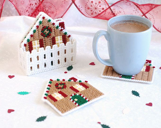 Christmas Coasters, Plastic Canvas Holiday Coasters, Quilt Block ...