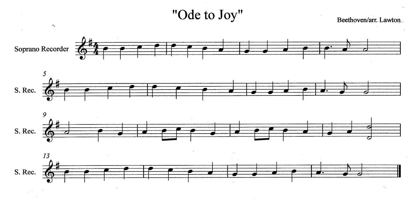 Recorder Sheet Music Back To Album Ode To Joy Recorder Sheet