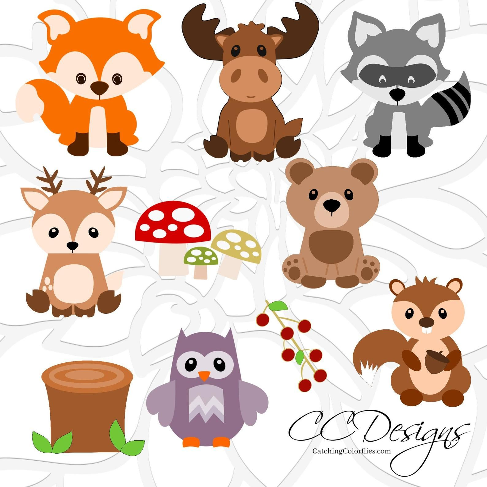 Woodland Animal Svg Set Cute Baby Forest Animals Clip Art Etsy Woodland Animals Woodland Creatures Forest Animals