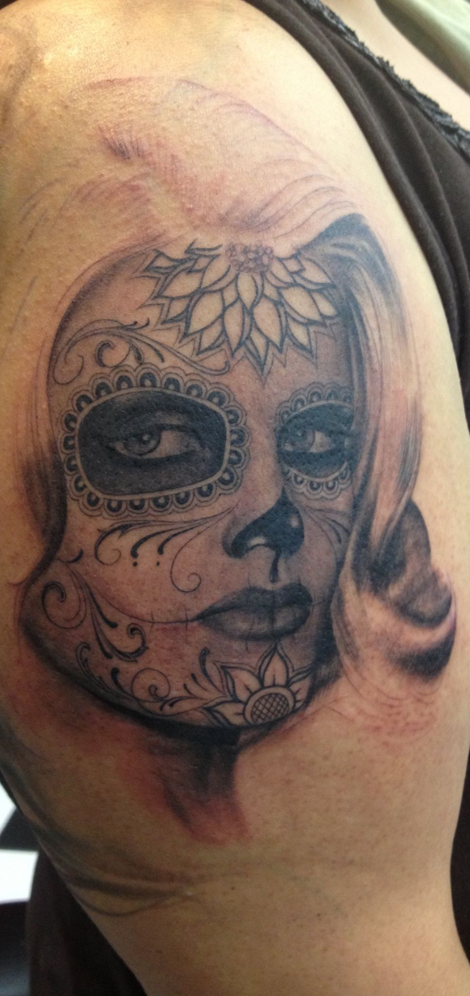 Day of the dead tattoo session 1 sideshow tattoo venice