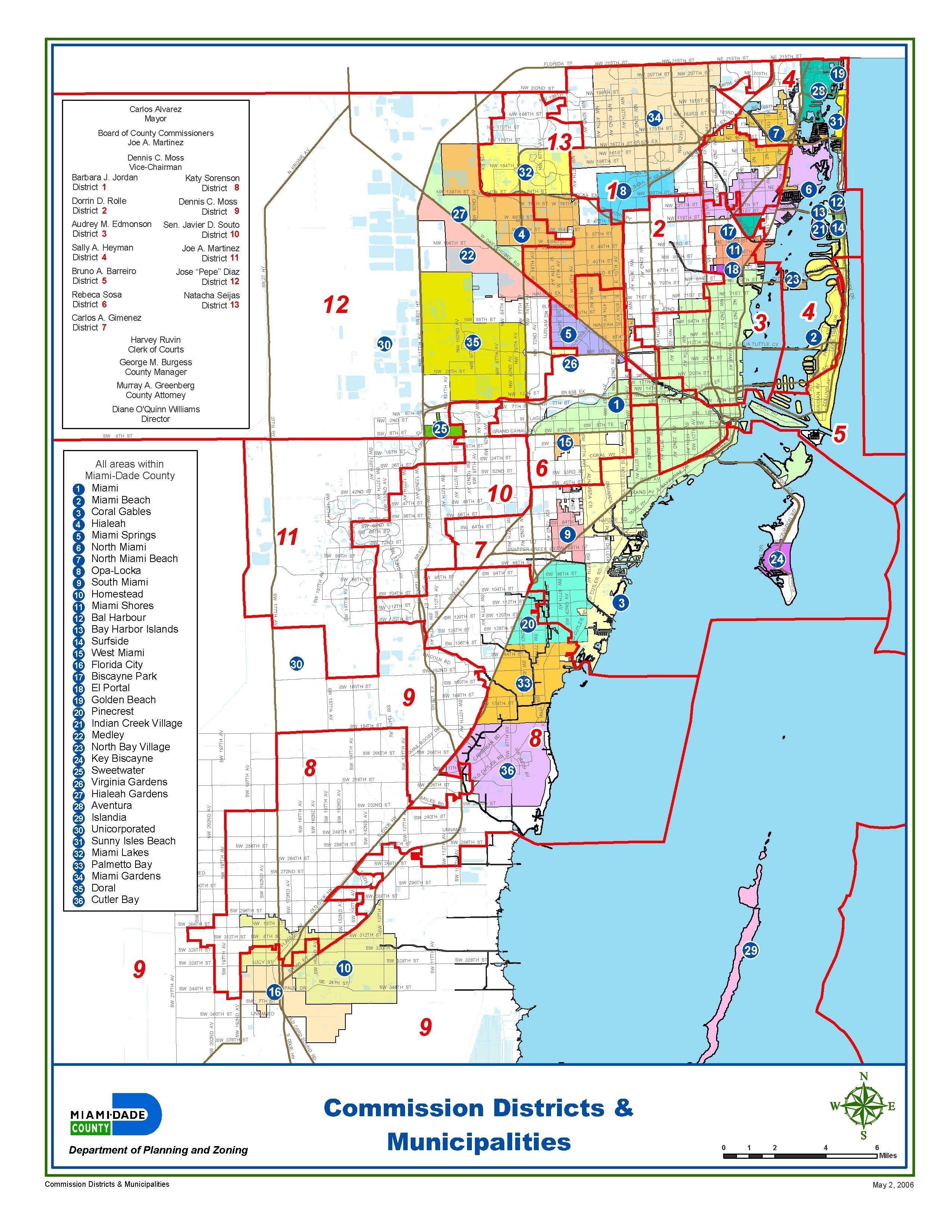 miami-dade municipalities map | map, broward county, miami