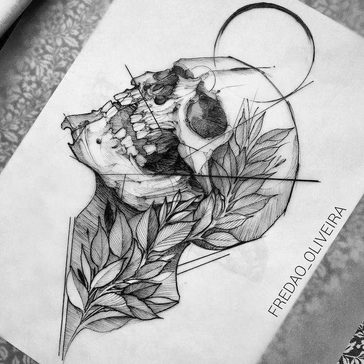 Dessin Representant La Mort tatouage tête de mort original- 40+ idées «memento mori» en styles