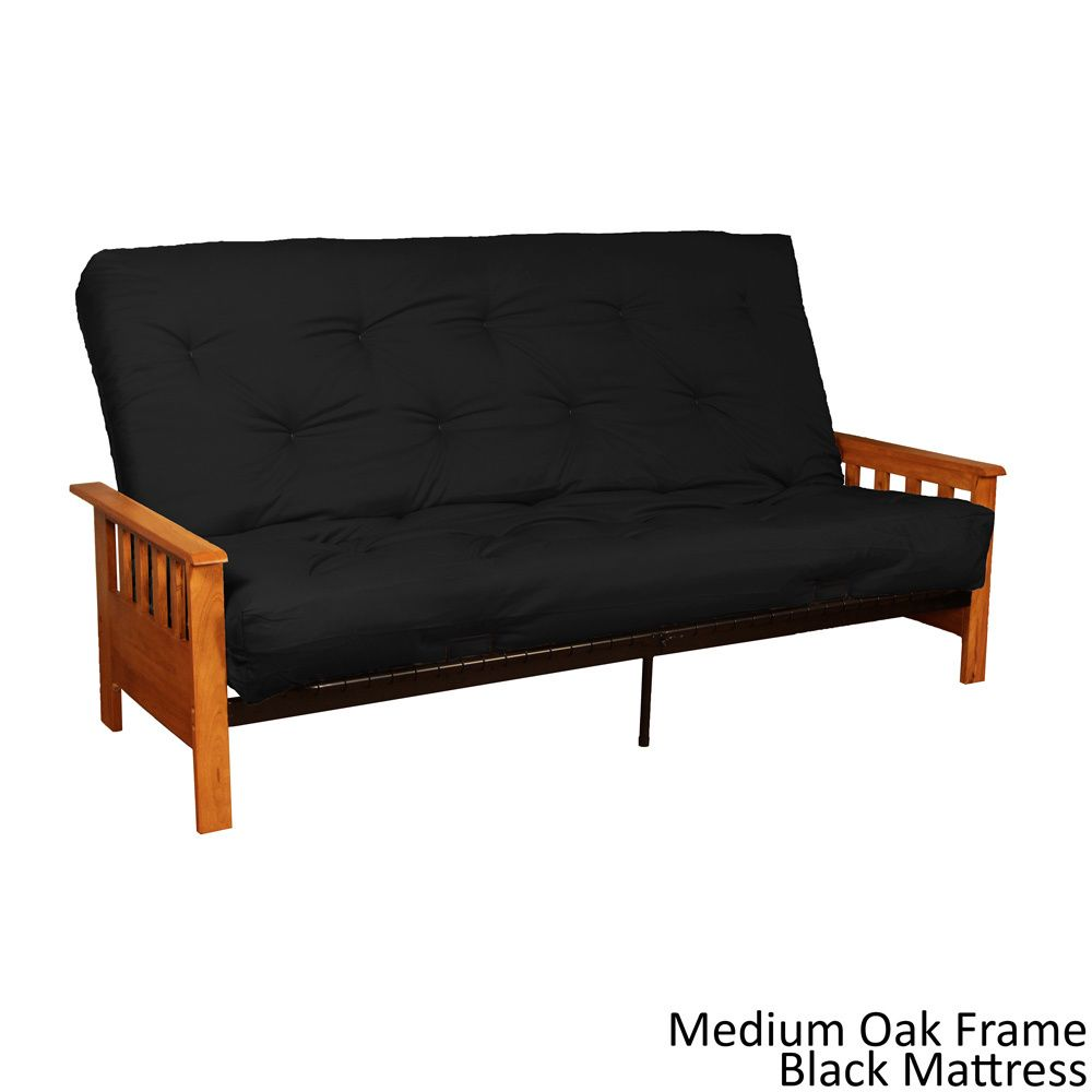 Epicfurnishings Provo Queen Size Mission Style Frame Cotton Foam Futon Set Medium Oak
