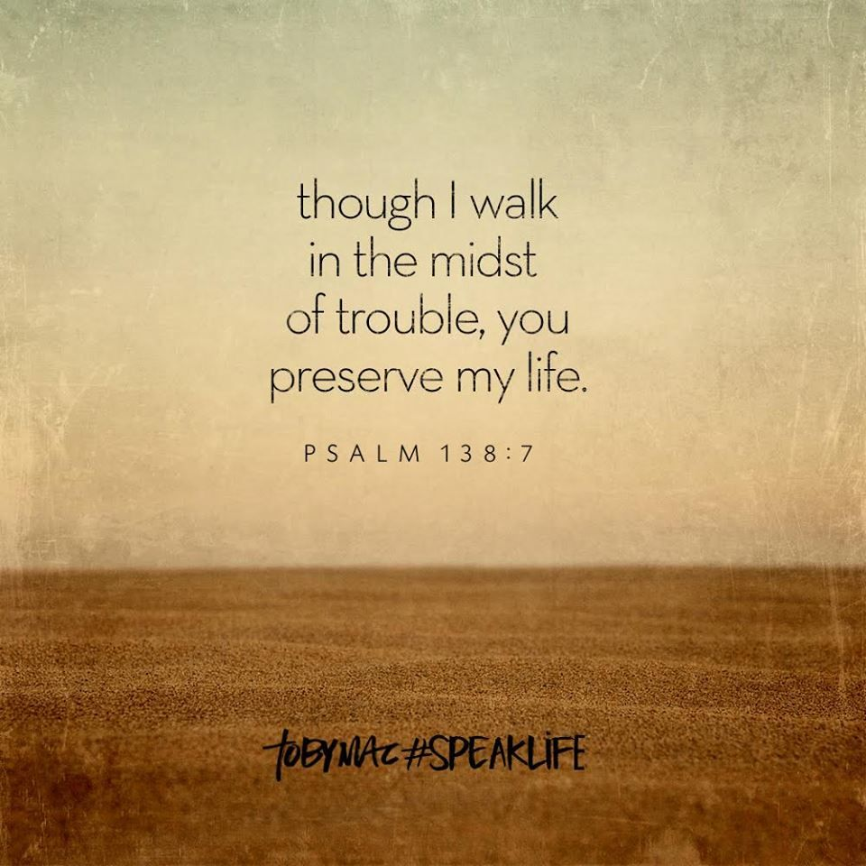 Psalm 138:7 ...though I walk i the midst of trouble, you preserve my life.