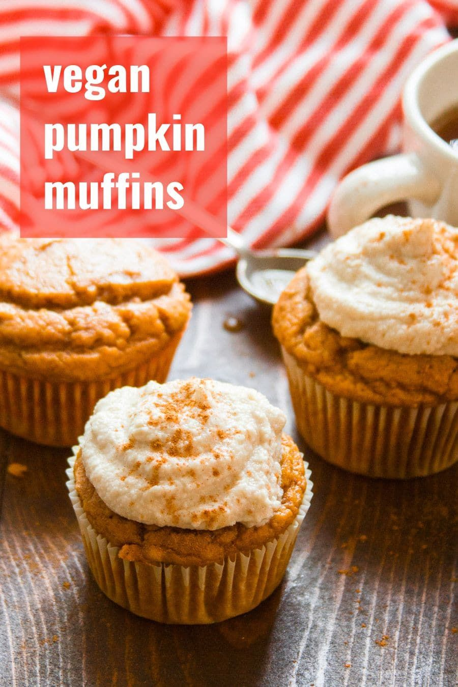 These vegan pumpkin muffins are rich, moist, and packed with spices. Top them off with rich cashew cream cheese frosting for an indulgent fall treat! #vegan #veganfood #veganrecipes #vegetarian #vegetarianrecipes #pumpkin #fall #muffins #pumpkinmuffins