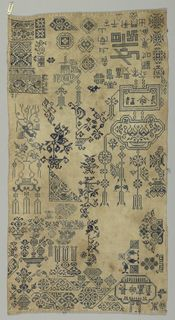 Blue embroidery on cotton foundation by more than one hand.  Scattered floral, bird, fish bands, and other assorted motifs.