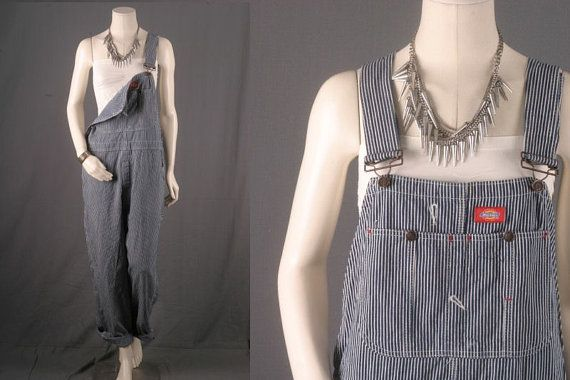 Overalls Dungarees striped blue white engineer by sparrowlyn