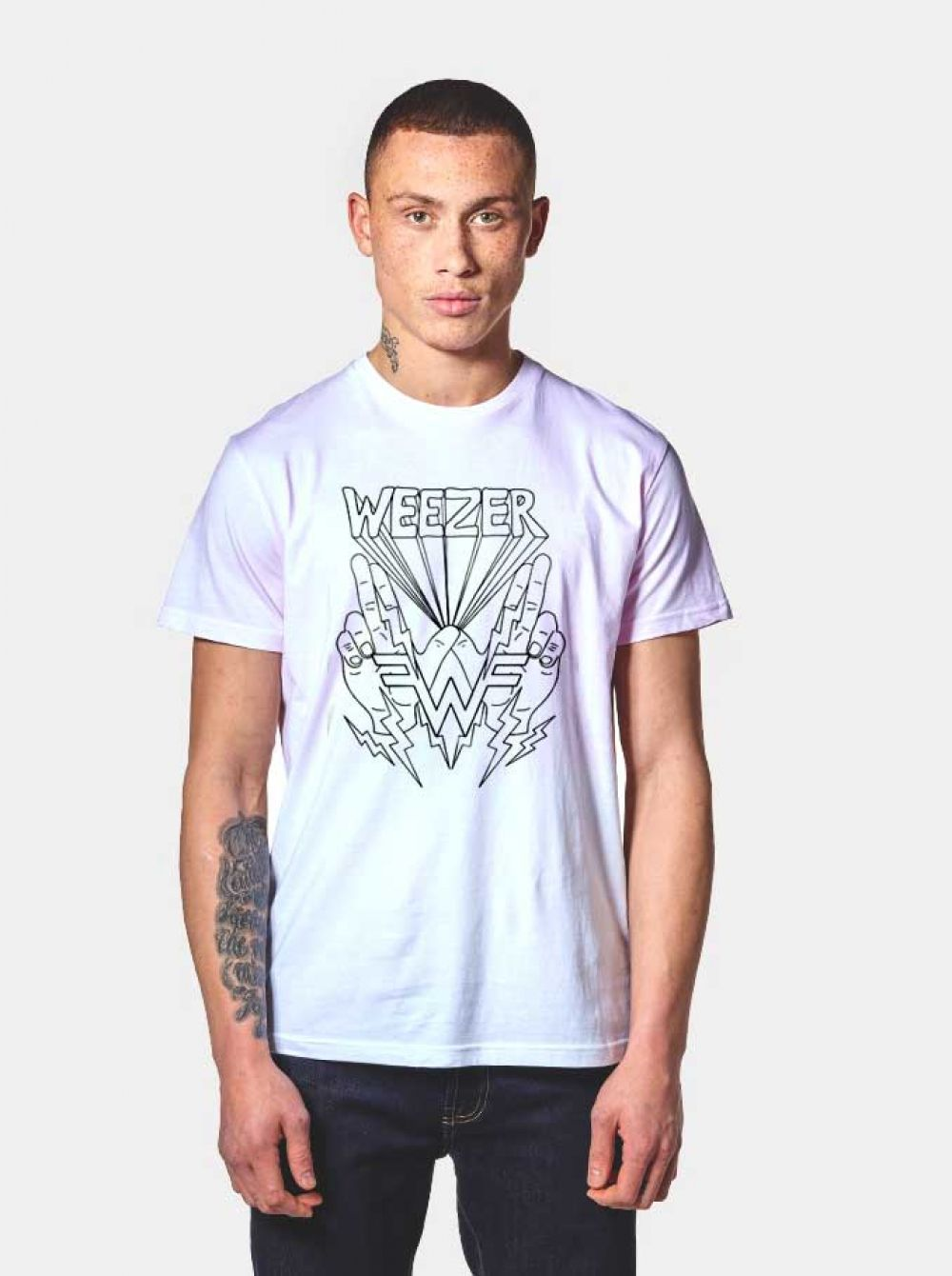 6dc39606 Weezer Lightning Hands T Shirt $ 14.50 #Tee #Hype #Outfits #Outfit  #Hypebeast #fashion #shirt #Tees #Tops #Teen