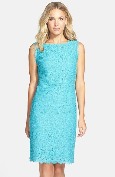 Adrianna Papell Boatneck Lace Sheath Dress $148,00