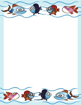 Fish Swim Through The Ocean In This Printable Sea Life Border Free To Download And Print Bordes Y Marcos Bordes Disenos De Unas