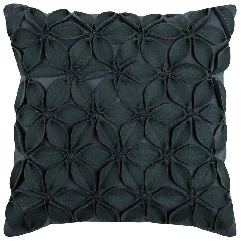 Felt Flowers Accent Pillow Cover (Dark Grey) (T08537)