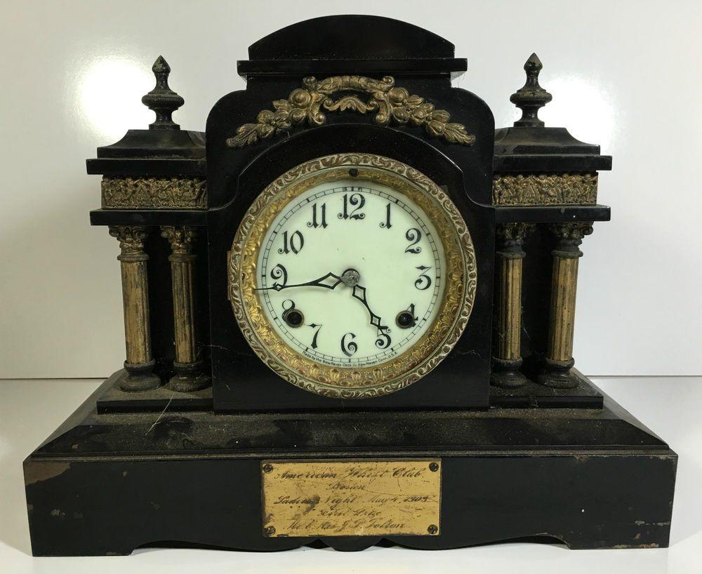 Details About Antique 19th C New Haven Clock Co Black Cast