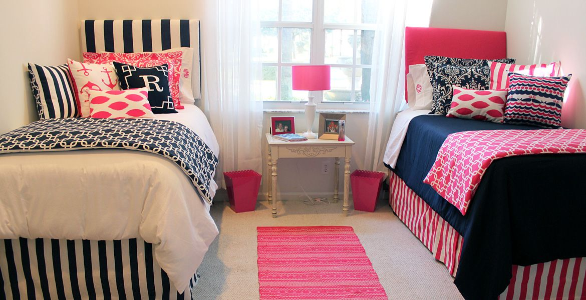 preppy pink and navy nautical dorm room bedding custom made 100 s of