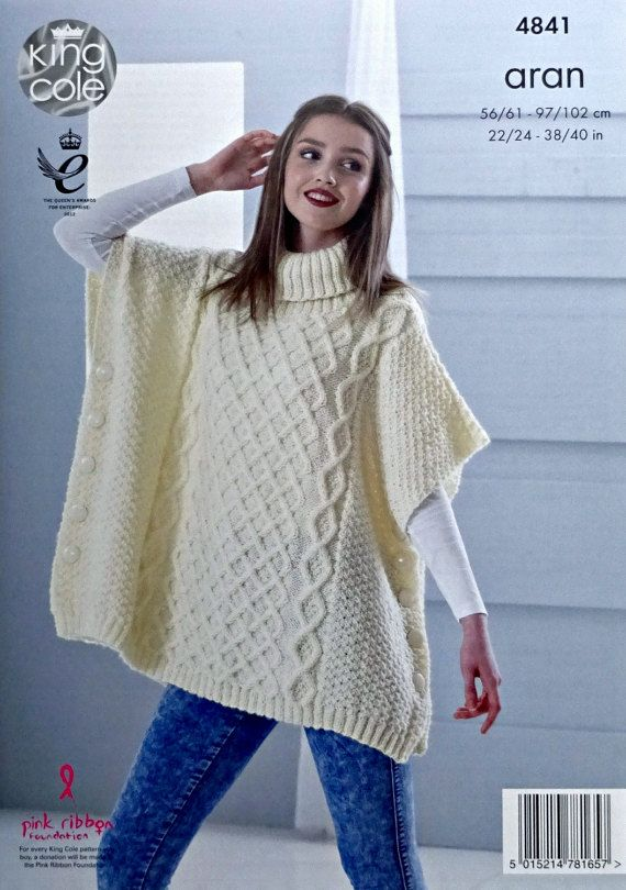 Womens knitting pattern k4841 ladiesgirls cable tabbardponcho womens knitting pattern k4841 ladiesgirls cable tabbardponcho knitting pattern aran worsted dt1010fo