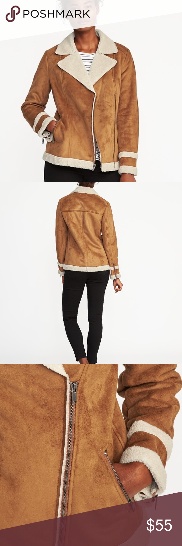Faux Suede SherpaLined Moto Jacket BRAND NEW, never worn