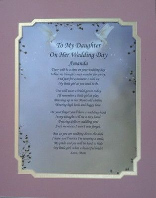 To My Daughter On Her Wedding Day Poem Personalize Gift Ebay