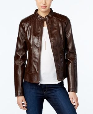 8f3824dab Guess Faux-Leather Textured Bomber Jacket - Brown XS | Products ...