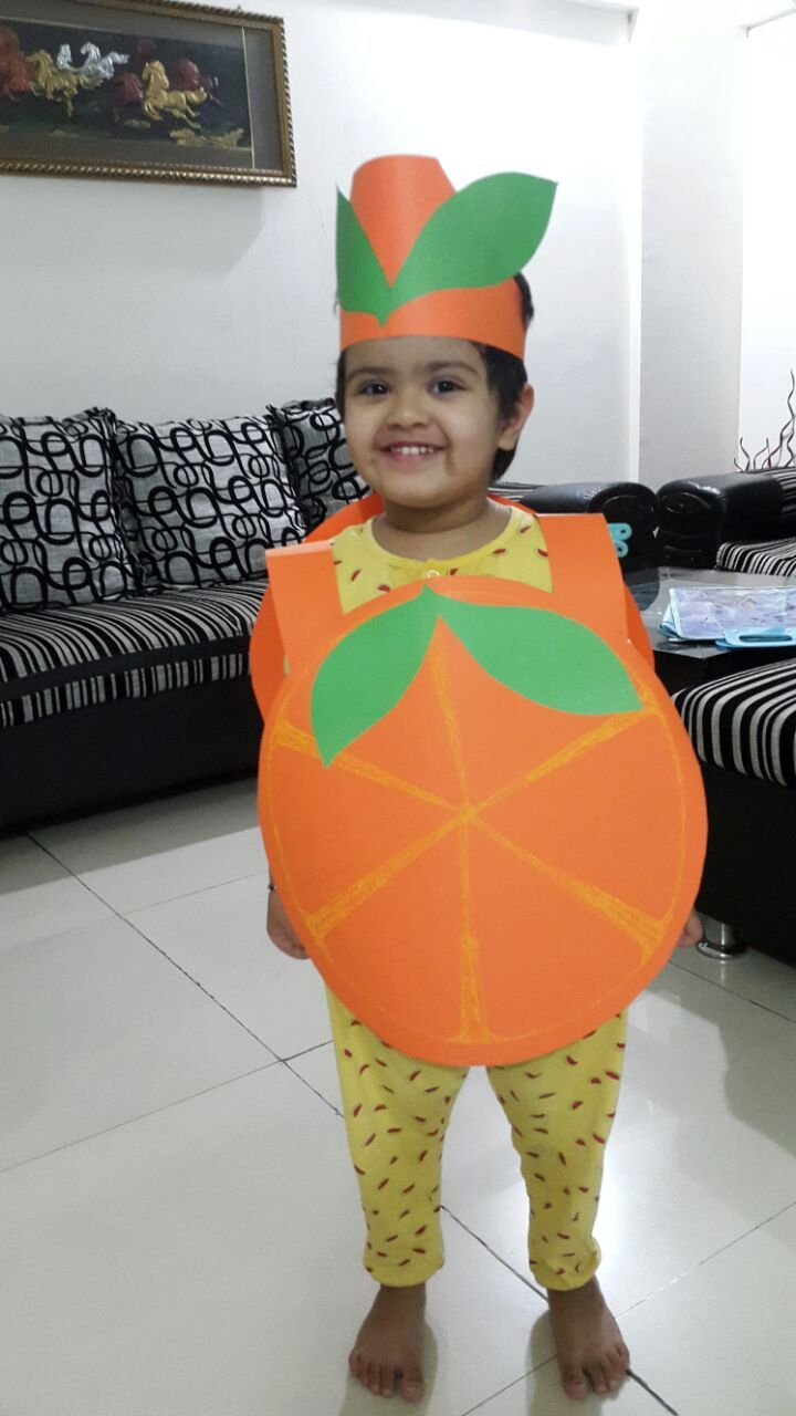 Homemade Orange fruit fancy dress outfit from paper