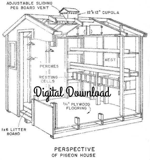 Chicken/Pigeon Coop Blueprints, Hen House, Nest Boxes