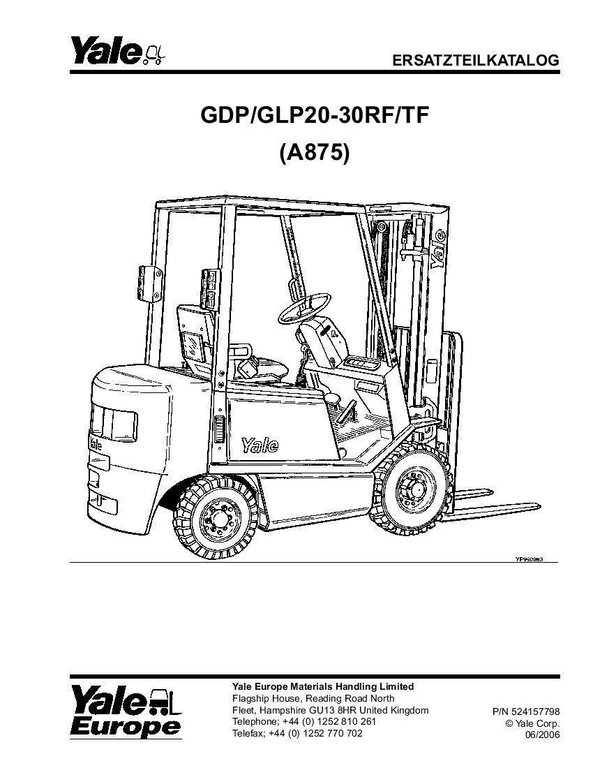 Yale A875 2006 De Lift Parts Manual Pdf Download Repair Manuals Forklift Manual