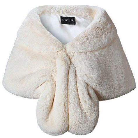 7a006ed381 Caracilia Faux Fur Shawl Wrap Stole Shrug Winter Bridal Wedding Cover Up