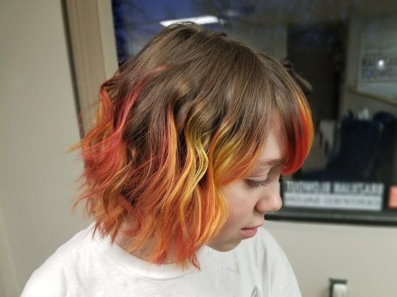 Ombre 200 This Girl Is On Fire The Inspiration For This Vivid Ombre Was The Element Fire Don T Get Too Close Hair Color Orange Normal Hair Cool Hairstyles