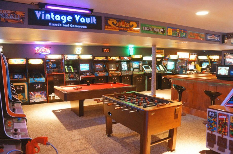 Pin By Katie Whitley On Man Cave Game Room Basement Arcade Room Bars For Home