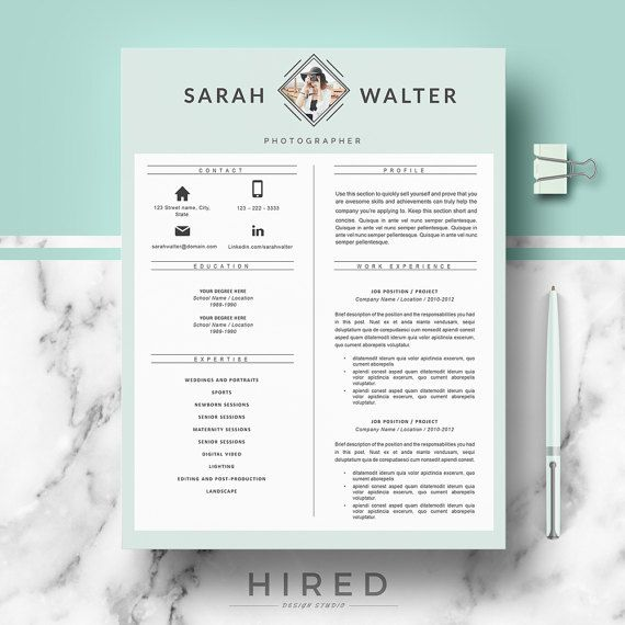 modern resume template for word sarah 100 editable instant digital download - Modern Resume Formats