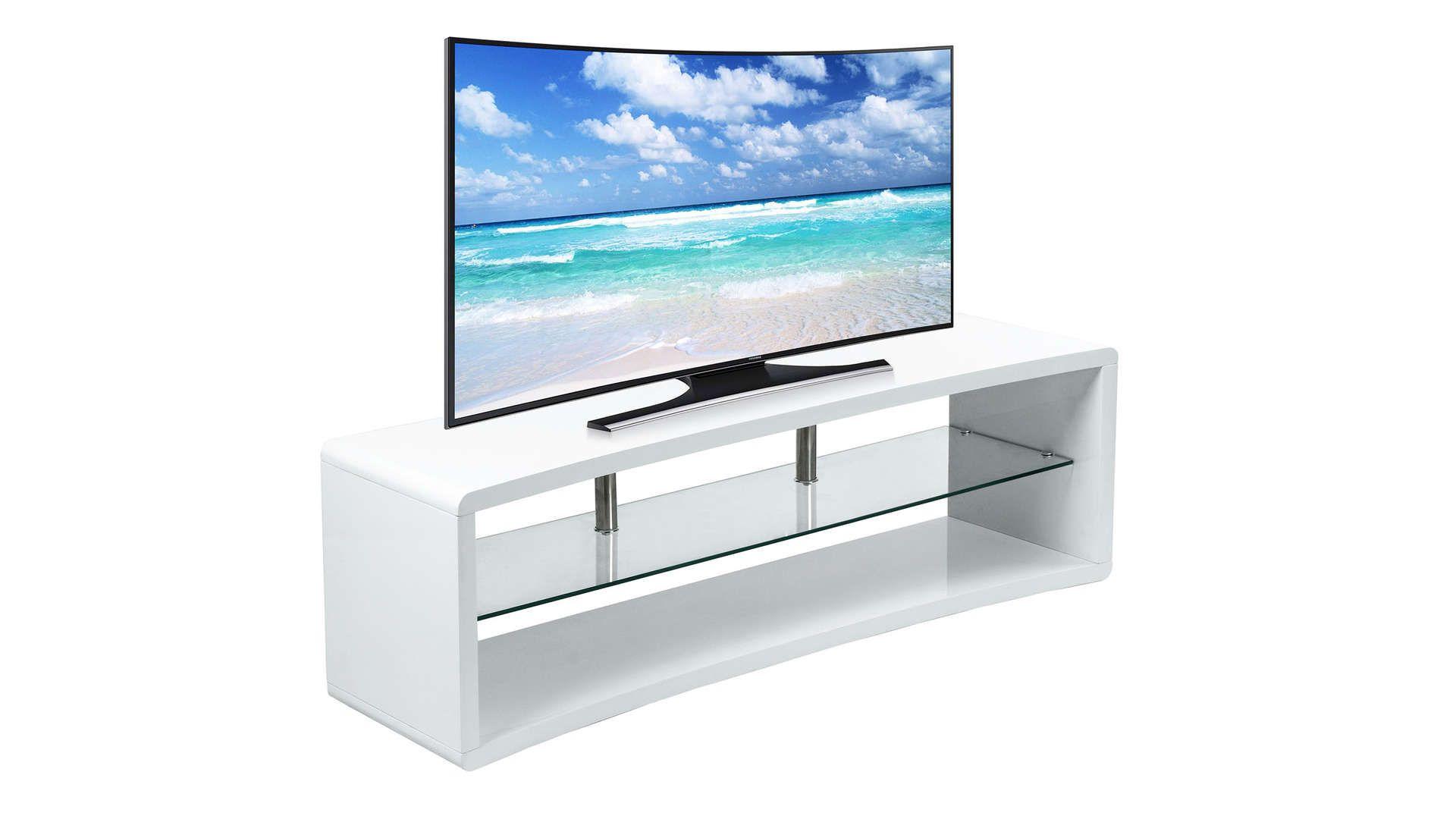 Meuble Tv 140 Cm Curve 2 Coloris Blanc En 2020 Meuble Tv Meuble