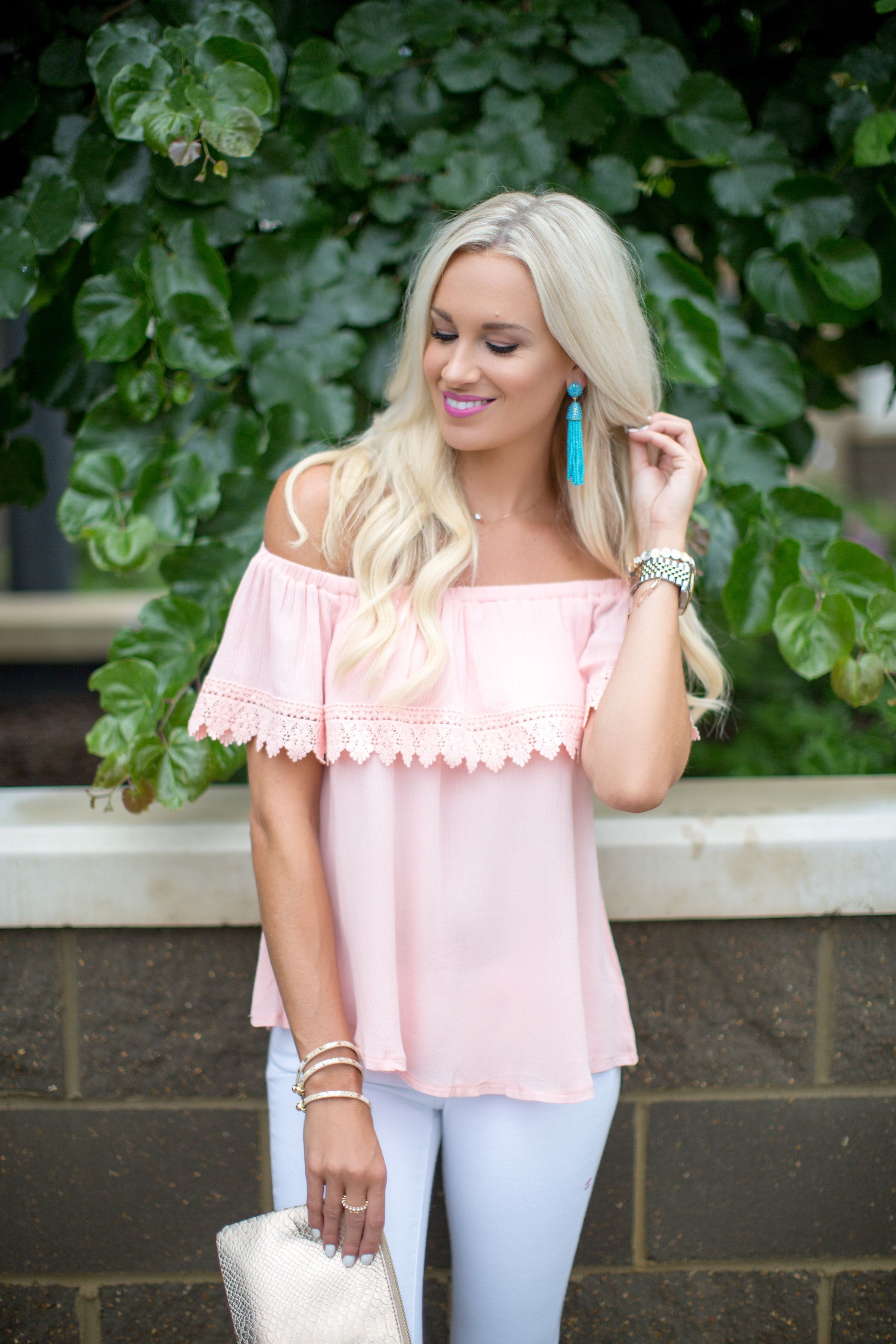 15df93a0d00b66 Jeans, off-the-shoulder top, bright chandelier earrings. | Summer ...