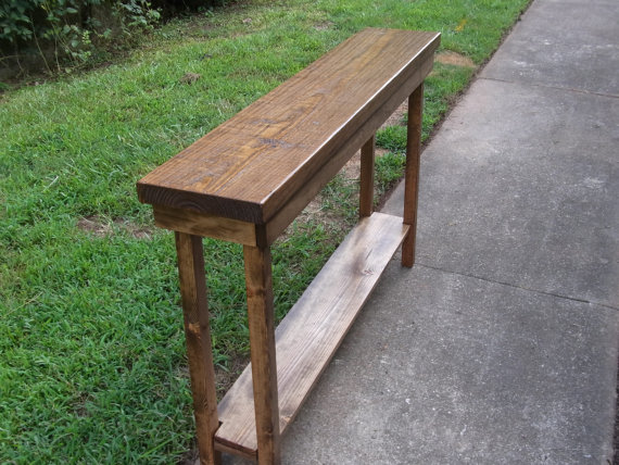 Rustic Pine Foyer Table : Rustic console table extra narrow sofa entryway