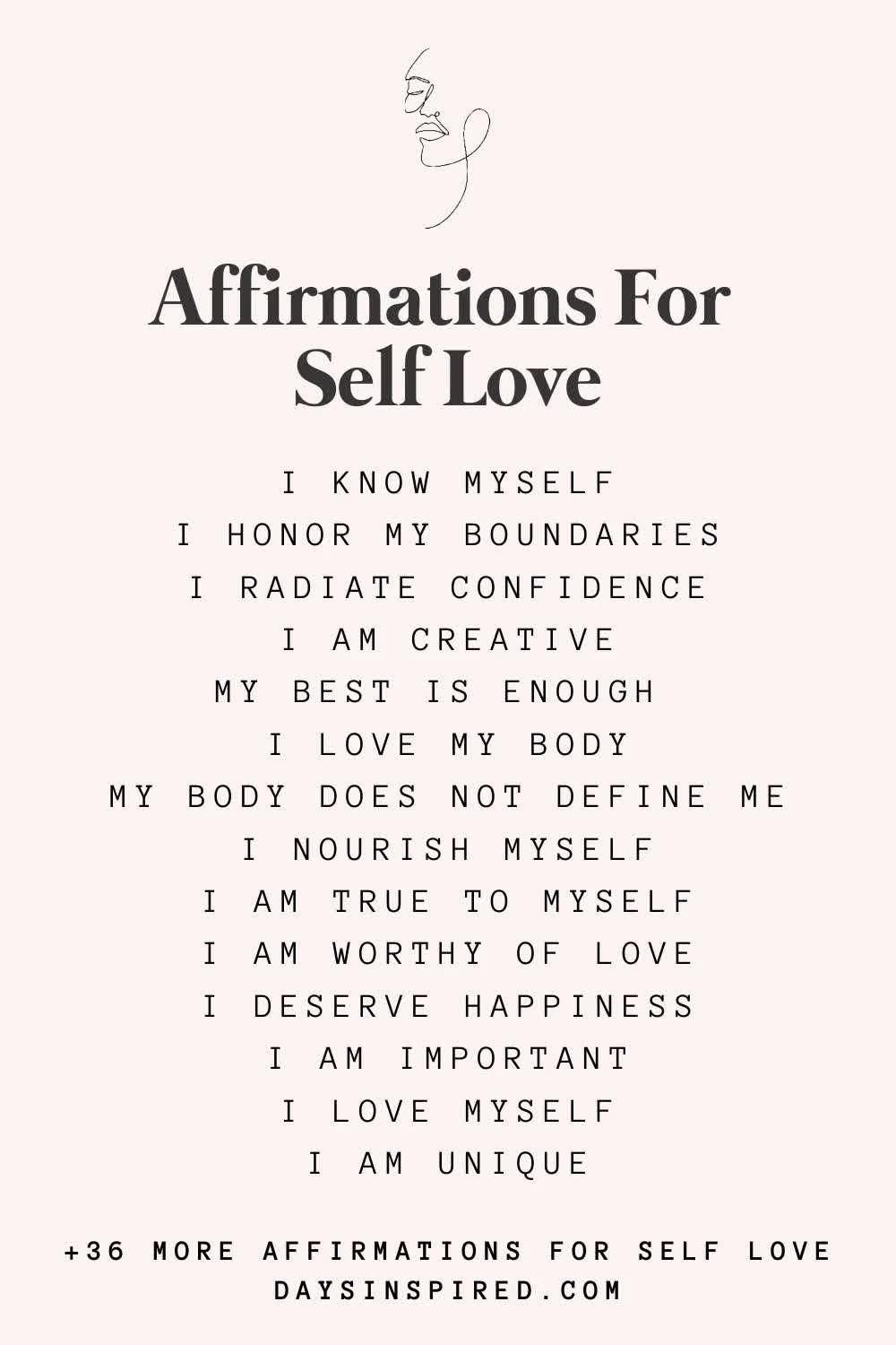 50 Affirmations for Self Love & How to Use Them - Days Inspired