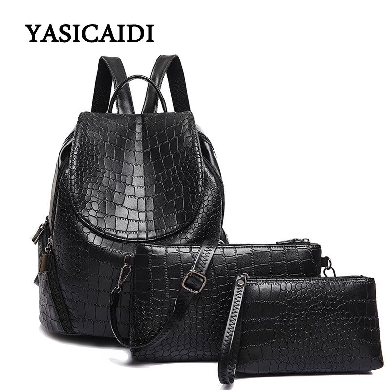 c9176ba53804 New Alligator Women Backpack for Teenage Girls Female School Shoulder Bag  Fashion Plecak Female Rugzak 3pcs