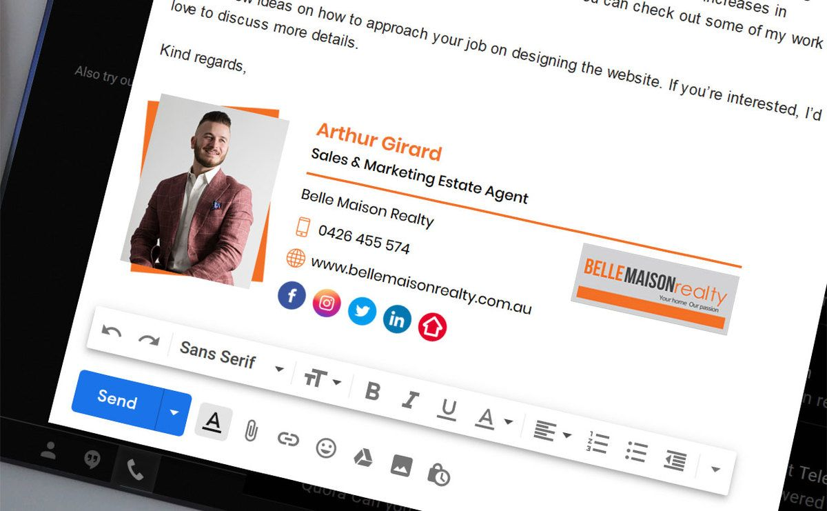 Email signature for Arthur Girard Sales & Marketing