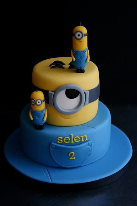 Tiered minion cake by Sugarplum Cake Shop -
