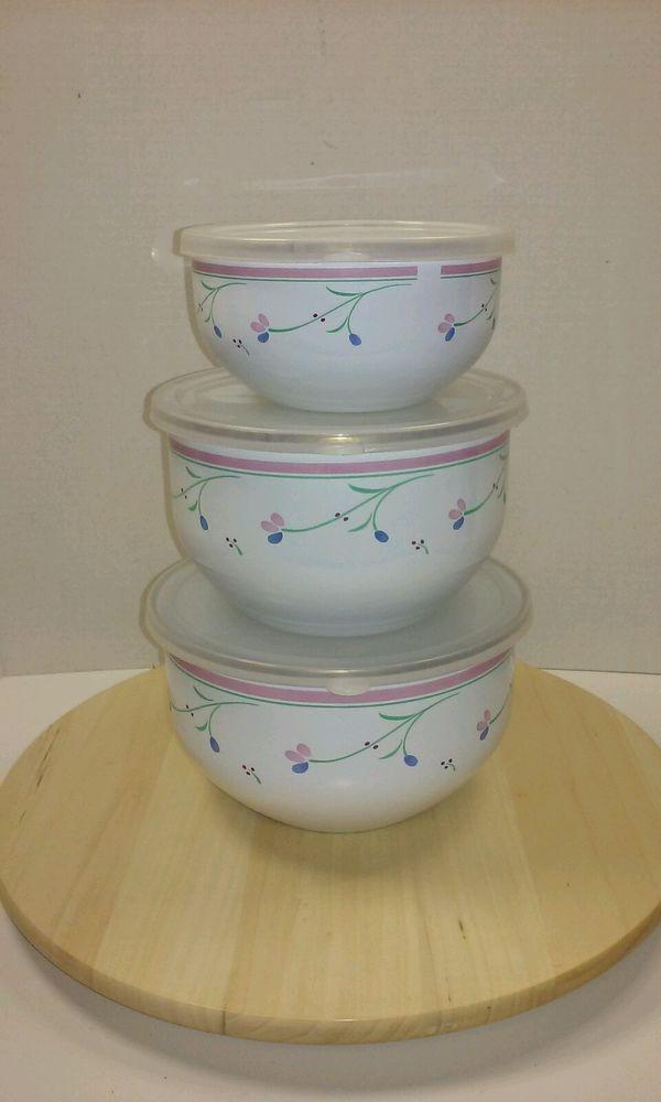 Floral Mixing Bowls Enamel Bowls Floral Bowls Mixing Bowl Set Vintage Bowls Vintage Mixing Bowls Set of 3 Bowls Enamel Mixing Bowls