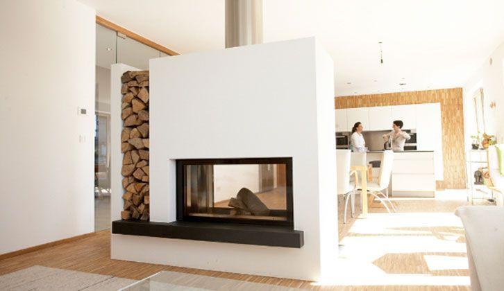 Durchsichtkamin als Raumteiler mit Holzlege Ons project - raumteiler für wohnzimmer