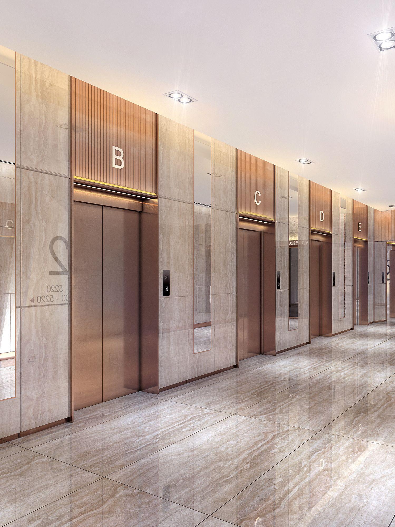Lobby Elevation   Lobby interior design, Elevator lobby ...