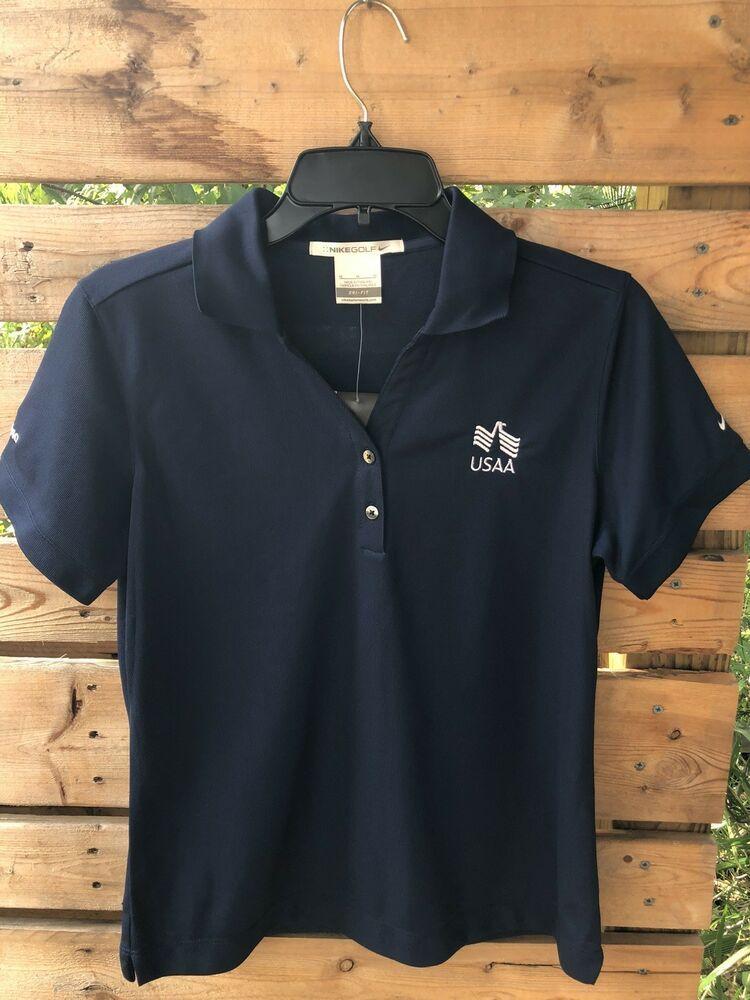 Nike Golf Dri Fit USAA Women's Navy Blue Polo Shirt Size M