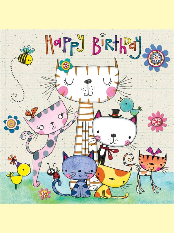 Happy Birthday Kitties Bugs Birds And Flowers Avec Images