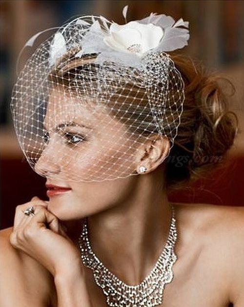 Wedding Hairstyles With Bird Cage Veils For Short Hair