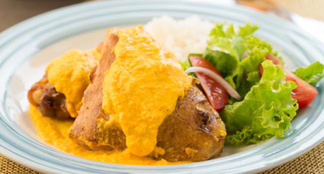 Muslitos de pollo, pollo con salsa de zanahoria, pollo en salsa