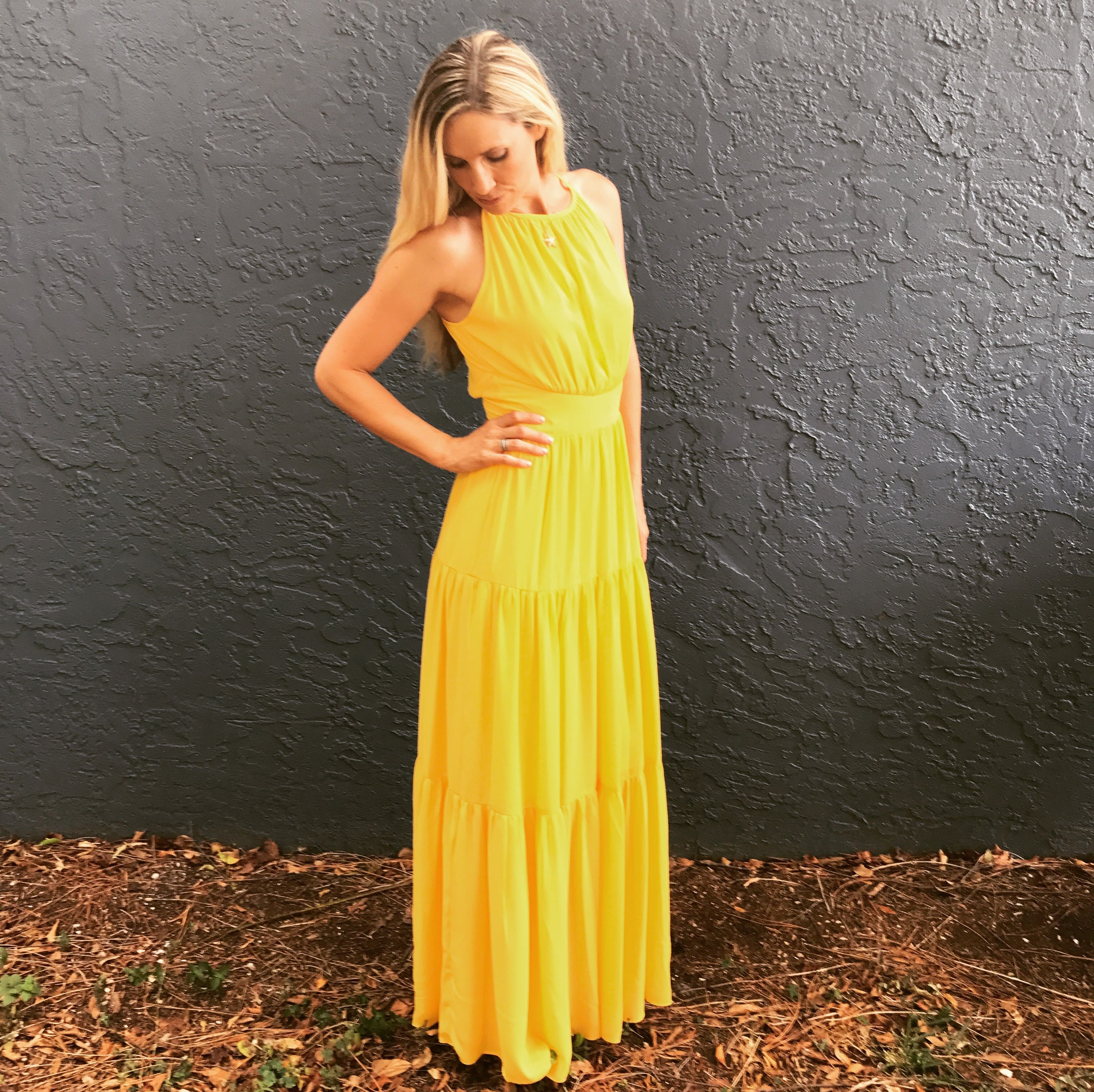 Felt like belle in this gorgeous yellow maxi from dillards perfect