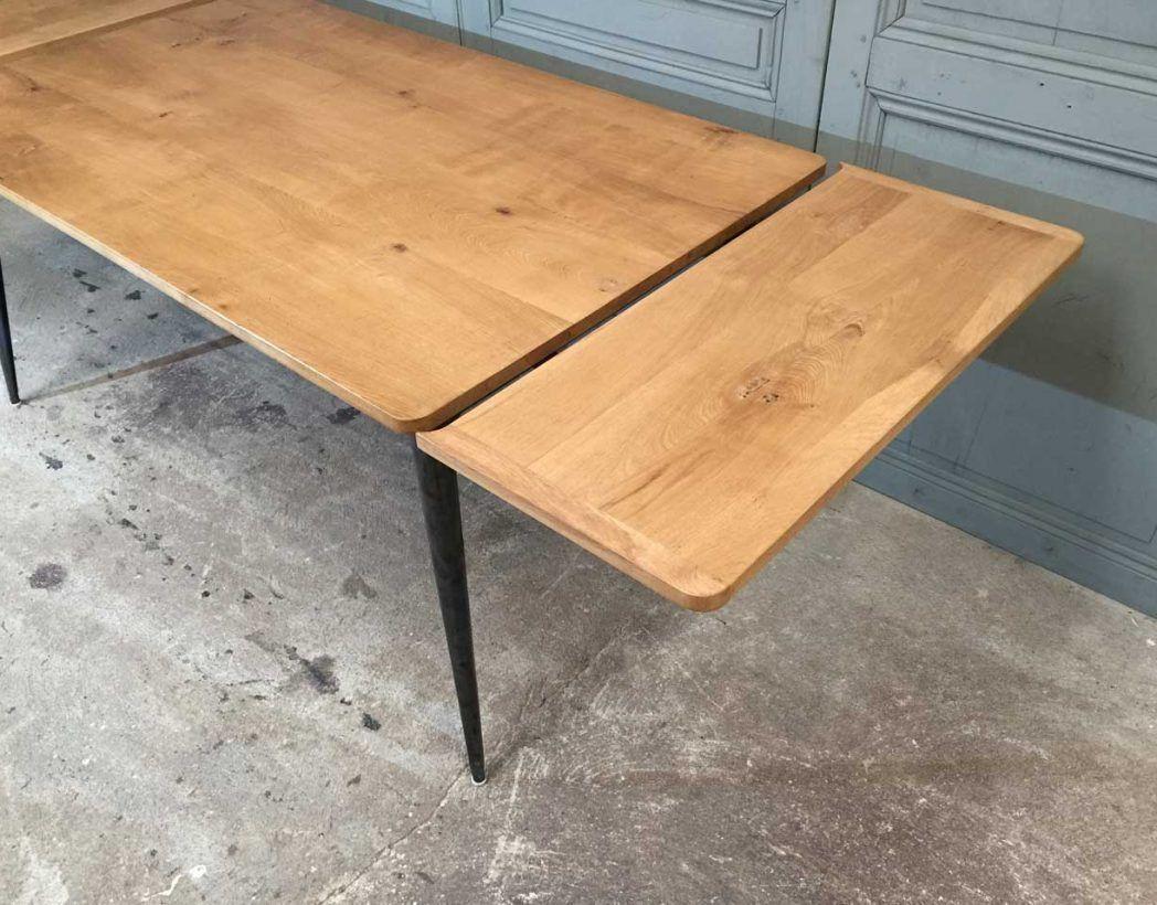 Table En Chene Et Pied Compas Metal Tolix Revisite Avec Rallonges Table En Chene Table Salle A Manger Table