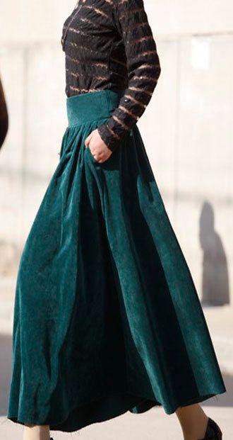 5615b25e35 Green corduroy winter skirt by xiaolizi on Etsy, $58.00 | My Style ...