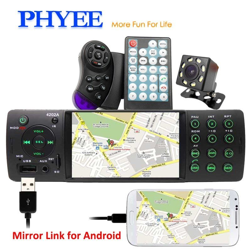 1 Din Car Radio Bluetooth Audio Video MP5 Player USB SD Aux FM A2DP Handsfree 4 Inch In dash Stereo System Head Unit PHYEE 4202A-in Car Radios from Automobiles & Motorcycles #audiovideo